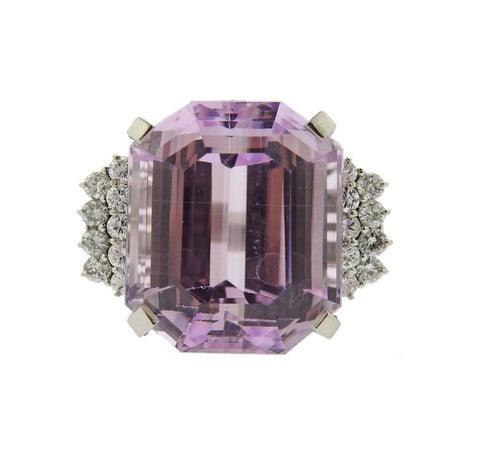 image of 30ct Kunzite Diamond Platinum Cocktail Ring