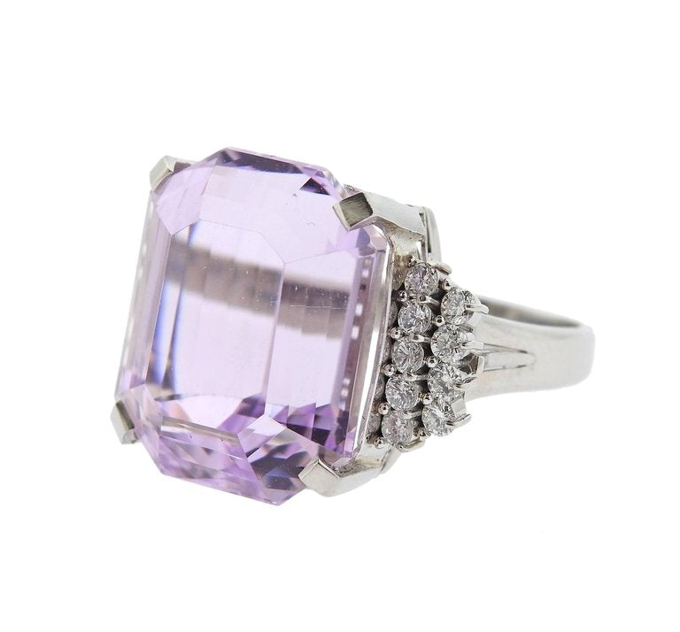 thumbnail image of 30ct Kunzite Diamond Platinum Cocktail Ring