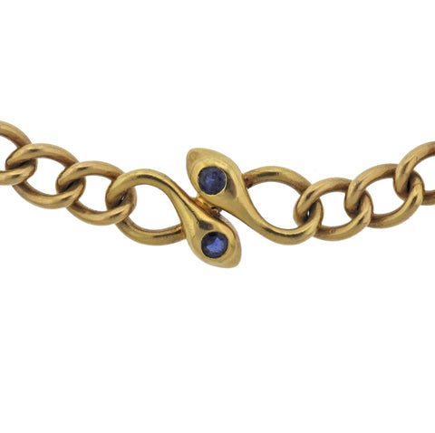 image of Van Cleef & Arpels Sapphire Gold Snake Necklace