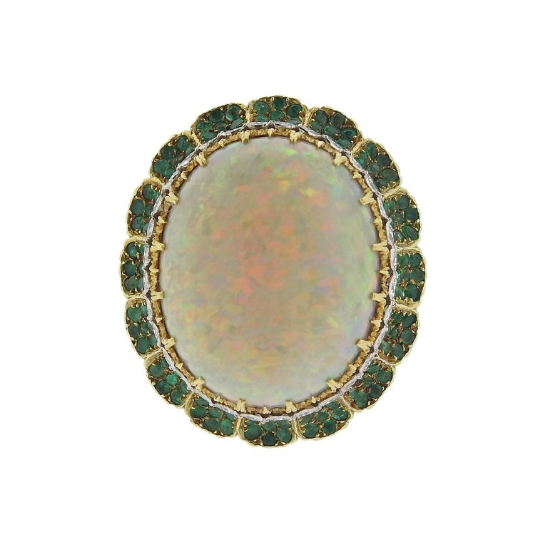 thumbnail image of Buccellati Opal Diamond Emerald Gold Cocktail Ring