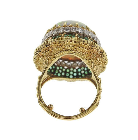 image of Buccellati Opal Diamond Emerald Gold Cocktail Ring
