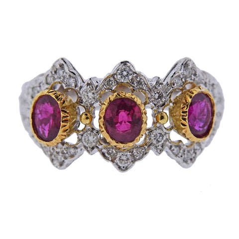 image of Mario Buccellati Diamond Ruby White Yellow Gold Ring