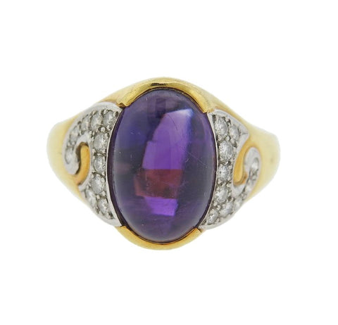 image of Michael Bondanza Amethyst Diamond Platinum Gold Ring