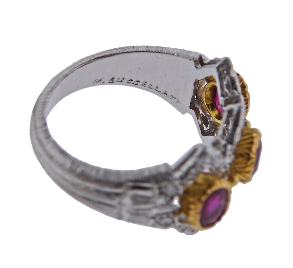 thumbnail image of Mario Buccellati Diamond Ruby White Yellow Gold Ring