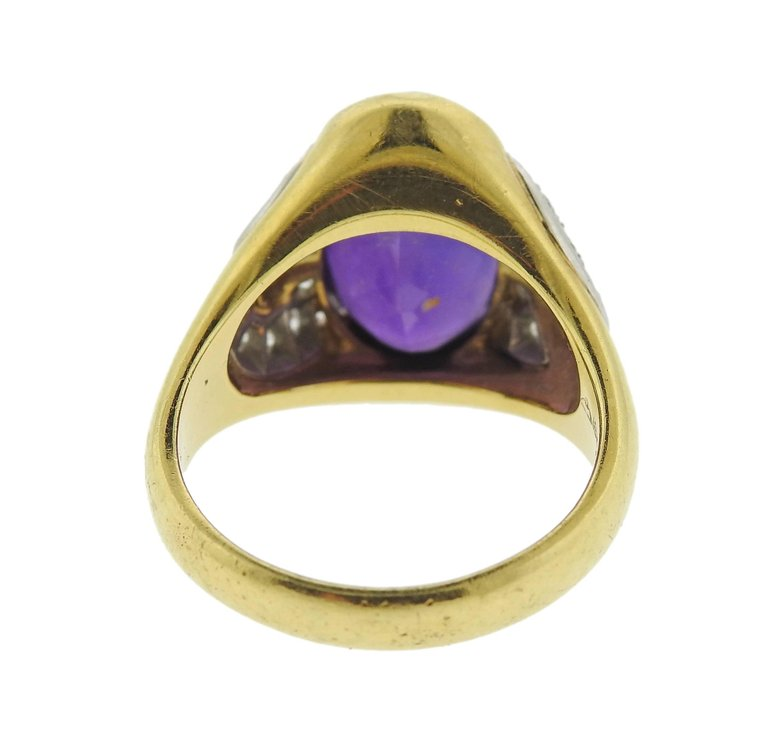 thumbnail image of Michael Bondanza Amethyst Diamond Platinum Gold Ring