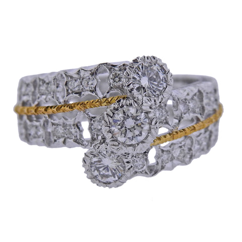 image of Mario Buccellati Diamond White Yellow Gold Ring