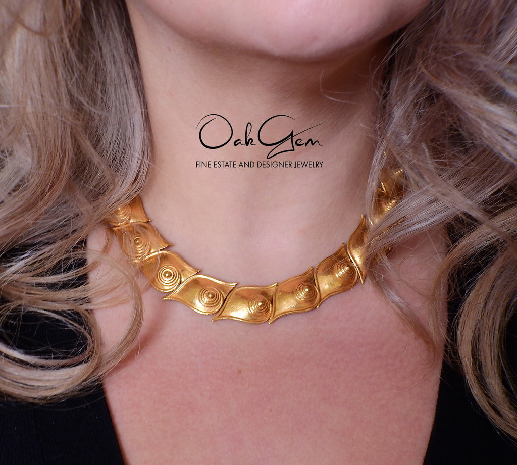 thumbnail image of Zolotas Greece Gold Swirl Motif Necklace Earrings Set