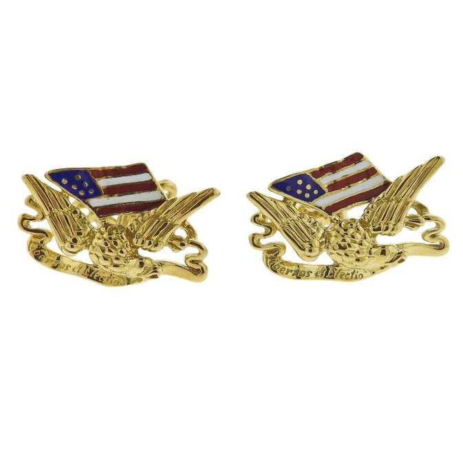 thumbnail image of Adria de Haume Gold Enamel Freedom Eagle American Flag Cufflinks
