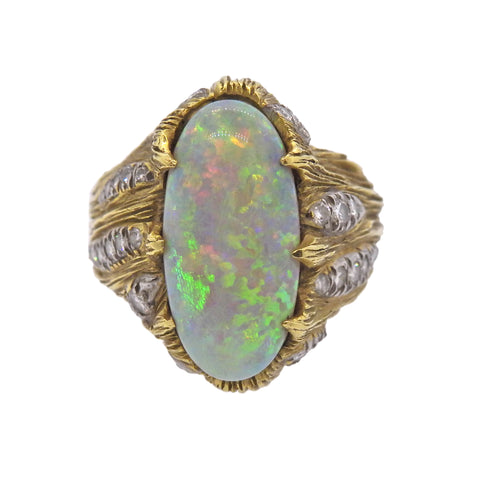 image of 1970s Opal Diamond Gold Ring