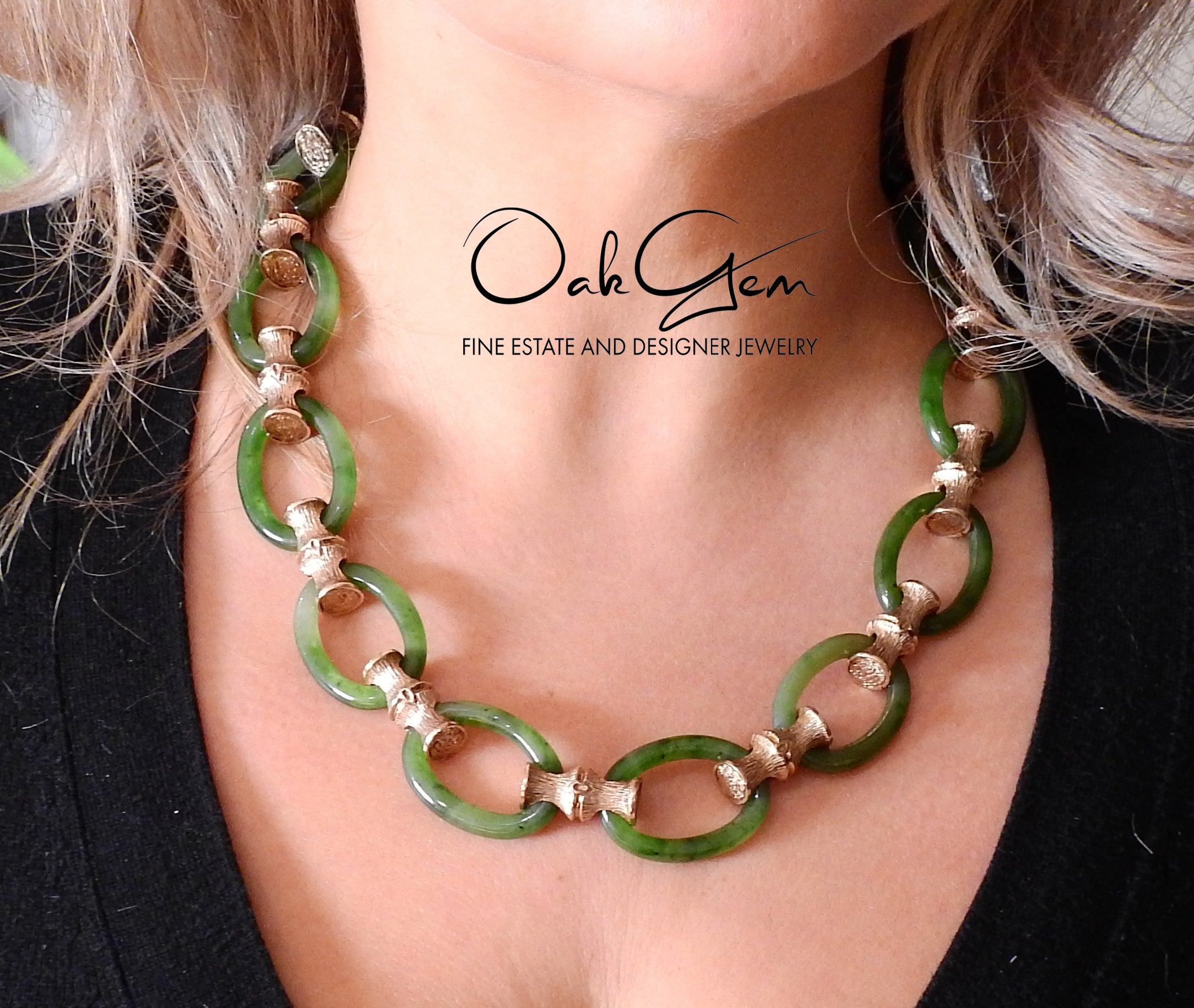 1970s Nephrite Link Bamboo Gold Necklace