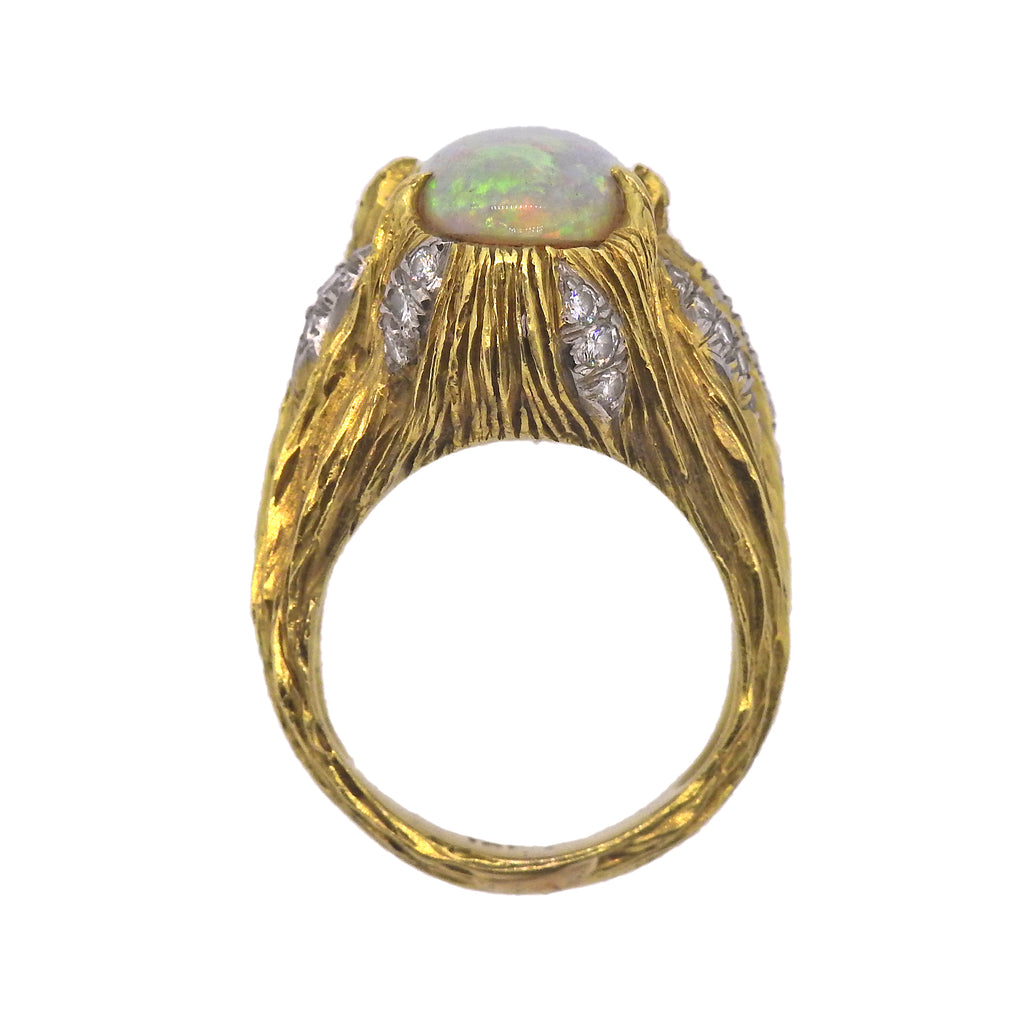 thumbnail image of 1970s Opal Diamond Gold Ring