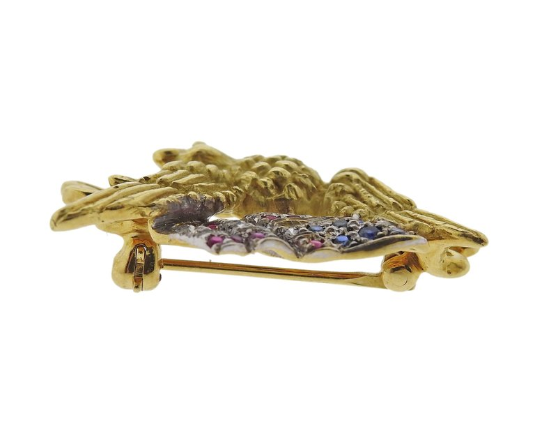 thumbnail image of Haume Diamond Ruby Sapphire Gold Freedom Eagle American Flag Lapel Pin