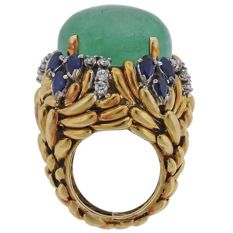image of 1960s Emerald Sapphire Diamond Gold Ring