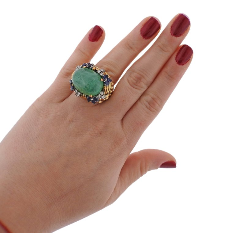 thumbnail image of 1960s Emerald Sapphire Diamond Gold Ring