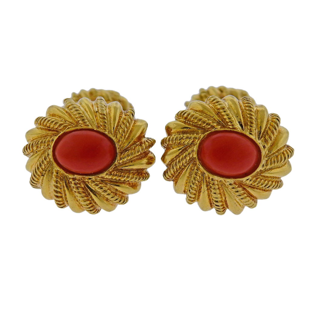 thumbnail image of Tiffany & Co Schlumberger Coral Gold Cufflinks