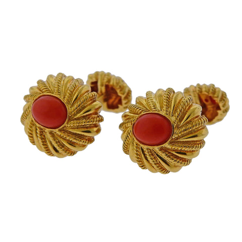 image of Tiffany & Co Schlumberger Coral Gold Cufflinks