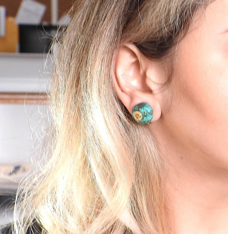 thumbnail image of Adria de Haume Turquoise Citrine Gold Earrings
