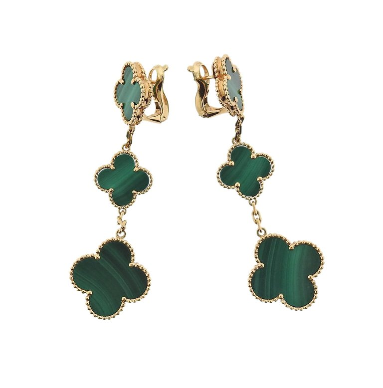 thumbnail image of Van Cleef & Arpels Alhambra Malachite Gold Three Motif Earrings