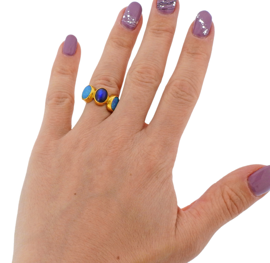 thumbnail image of Gurhan Amulet Hue Gold Moonstone Opal Ring