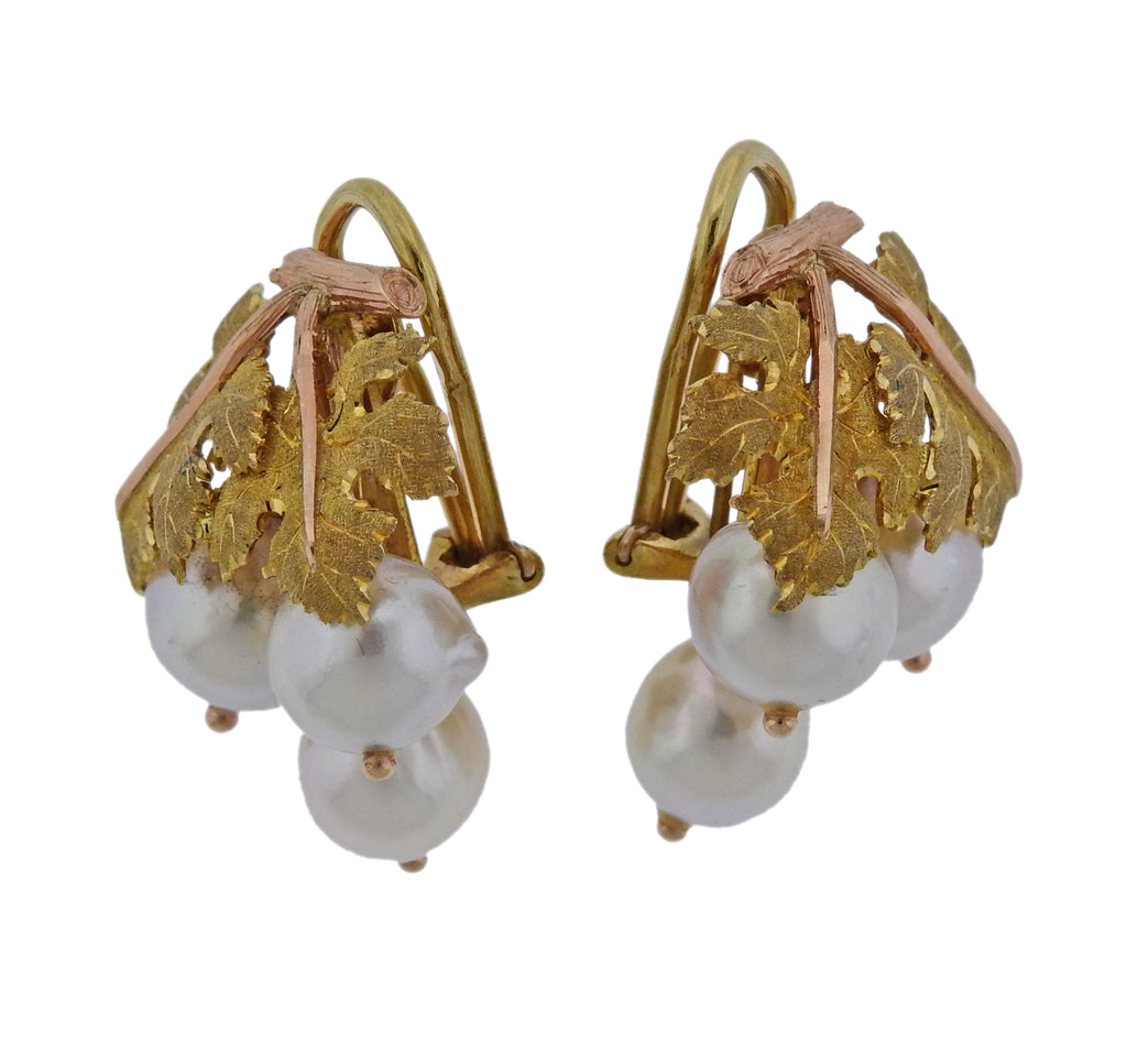 thumbnail image of Mario Buccellati Pearl Yellow Rose Gold Leaf Earrings