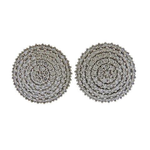 image of Gurhan Large Lentil Ice Diamond Gold Earrings