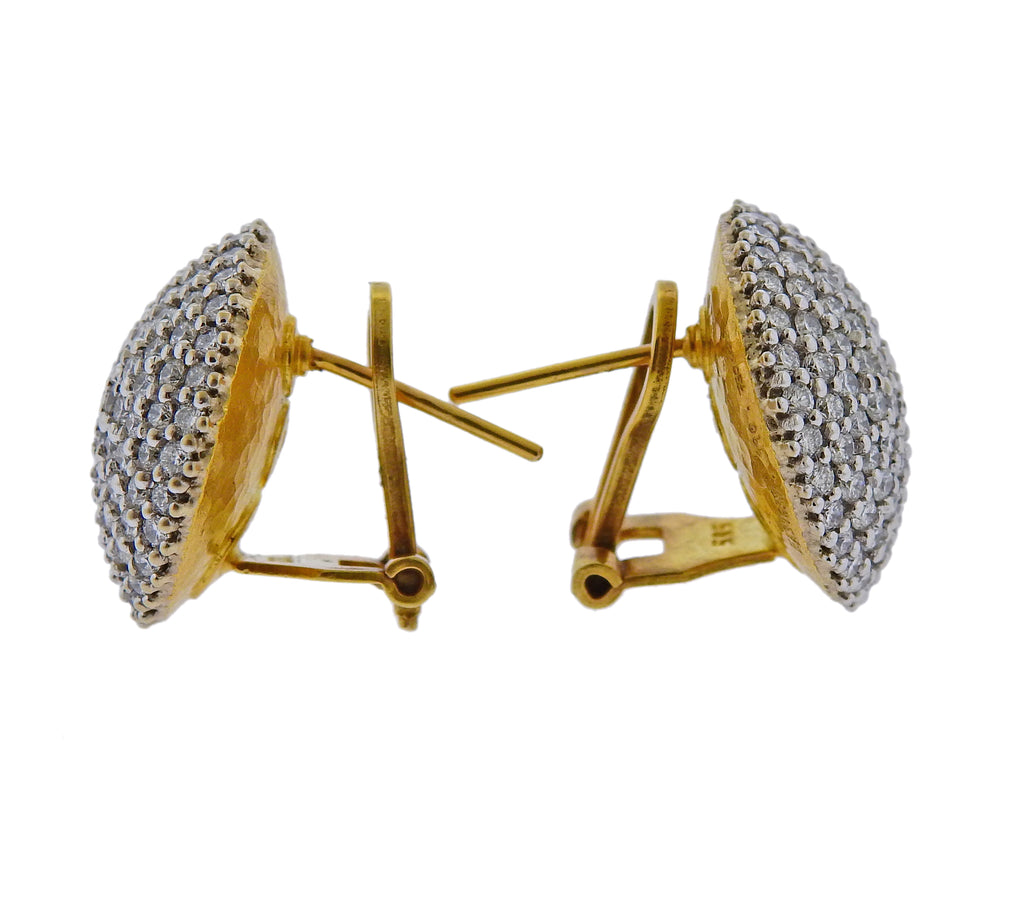 thumbnail image of Gurhan Large Lentil Ice Diamond Gold Earrings