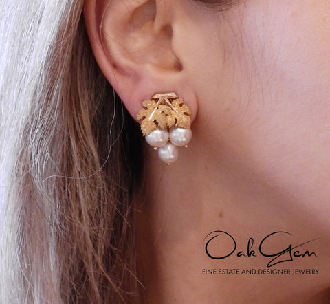 image of Mario Buccellati Pearl Yellow Rose Gold Leaf Earrings
