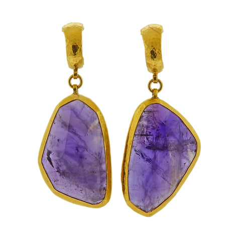 image of Gurhan One of a Kind Amethyst Gold Drop Earrings
