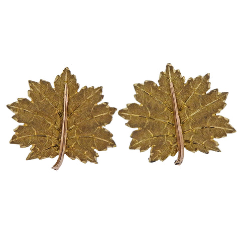 image of Mario Buccellati Yellow Gold Leaf Stud Earrings