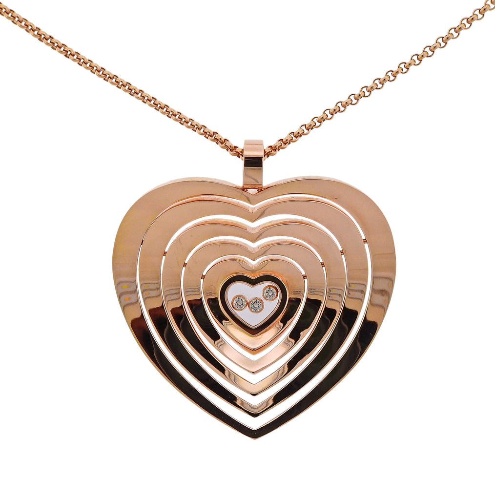 thumbnail image of Chopard Happy Heart Floating Diamond 18k Gold Pendant Necklace