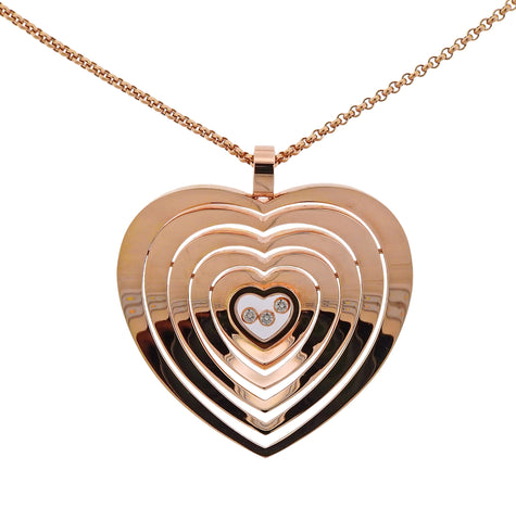 image of Chopard Happy Heart Floating Diamond 18k Gold Pendant Necklace