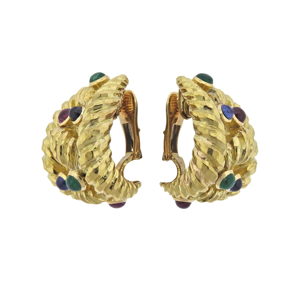 thumbnail image of David Webb Emerald Sapphire Ruby Gold Half Hoop Earrings