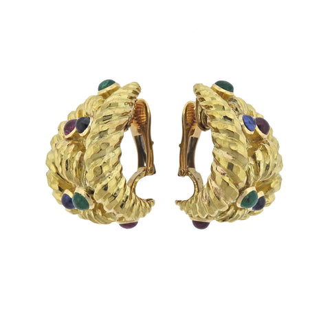 image of David Webb Emerald Sapphire Ruby Gold Half Hoop Earrings