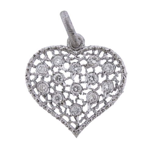 image of Mario Buccellati Diamond Gold Heart Pendant