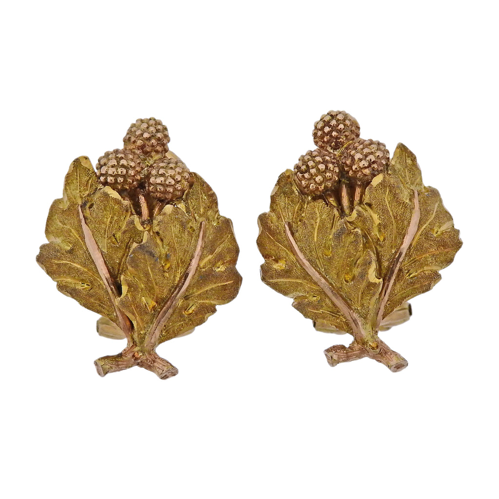 thumbnail image of Mario Buccellati Yellow Rose Gold Leaf Earrings