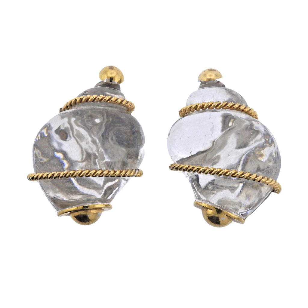 thumbnail image of Seaman Schepps Crystal Gold Shell Motif Earrings