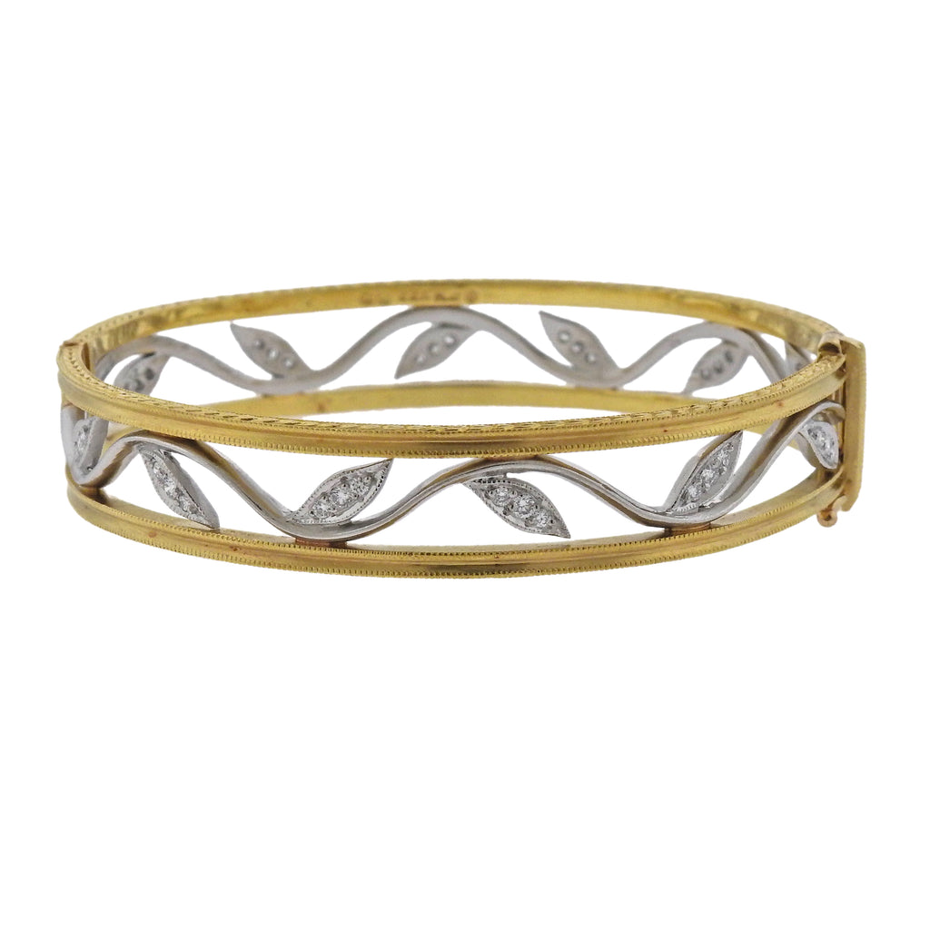 thumbnail image of Cathy Waterman Platinum Gold Diamond Leaf Bangle Bracelet