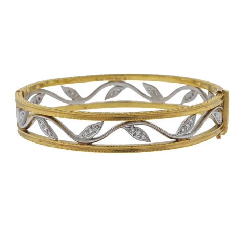 image of Cathy Waterman Platinum Gold Diamond Leaf Bangle Bracelet