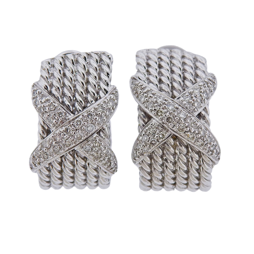 thumbnail image of Diamond Gold Rope X Half Hoop Earrings