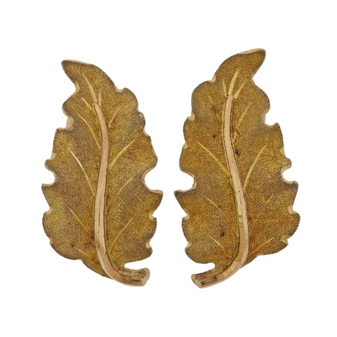 image of Mario Buccellati Yellow Gold Leaf Earrings