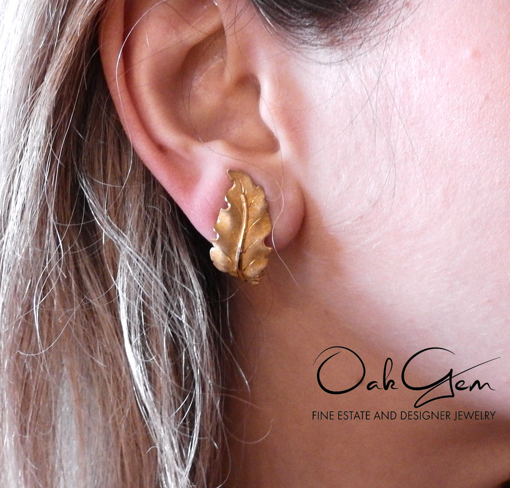 thumbnail image of Mario Buccellati Yellow Gold Leaf Earrings