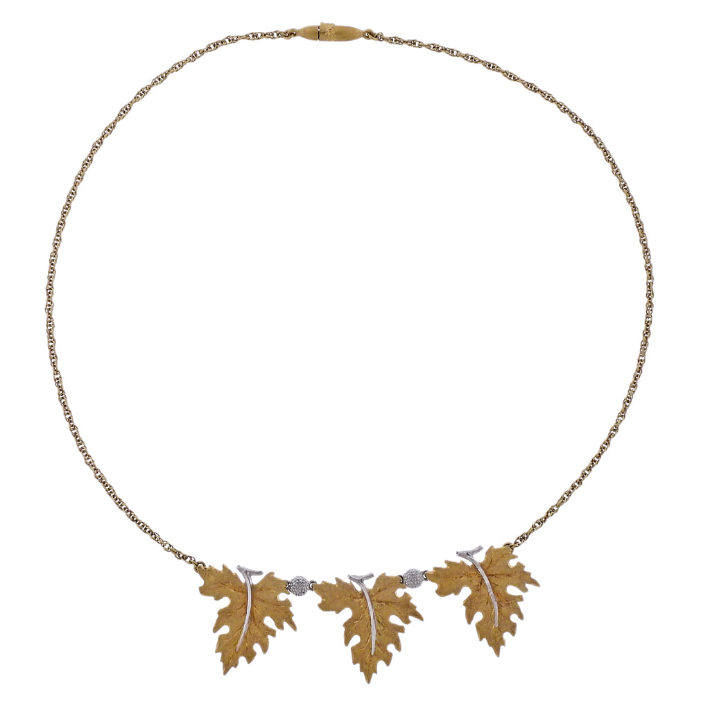 thumbnail image of Mario Buccellati Leaf Gold Pendant Necklace