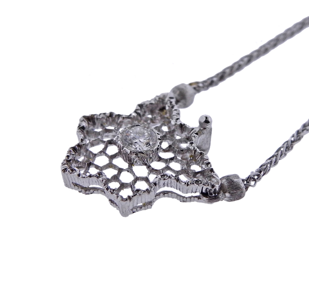 thumbnail image of Mario Buccellati Honeycomb Diamond Pendant Gold Necklace