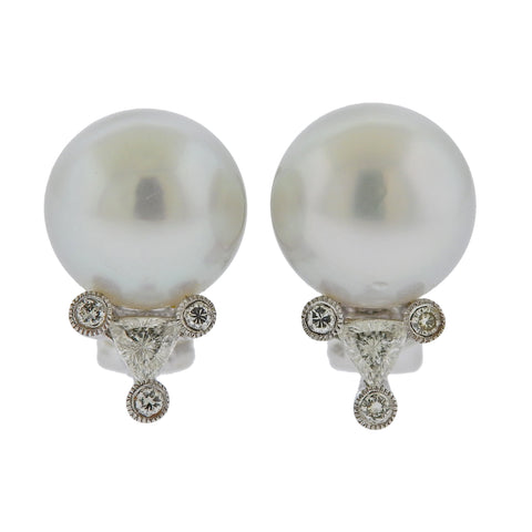image of South Sea Pearl Diamond Gold Earrings