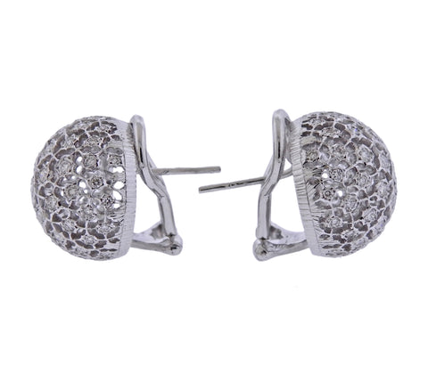 image of Mario Buccellati Diamond White Gold Dome Earrings