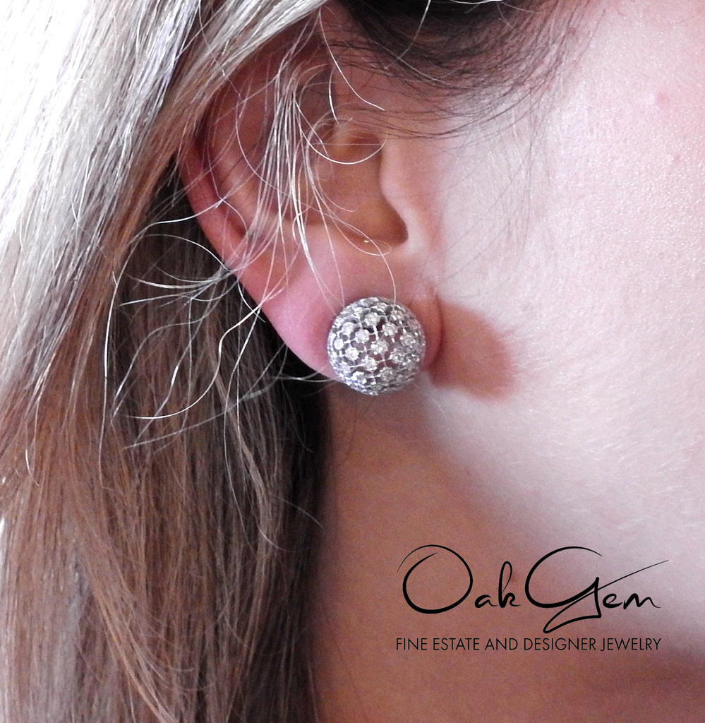 thumbnail image of Mario Buccellati Diamond White Gold Dome Earrings
