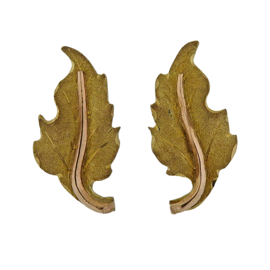 thumbnail image of Mario Buccellati Yellow Gold Leaf Stud Earrings