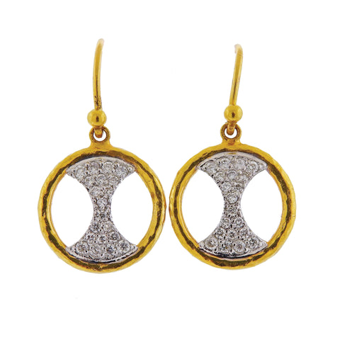 image of Gurhan Tuxedo Gold Diamond Drop Earrings