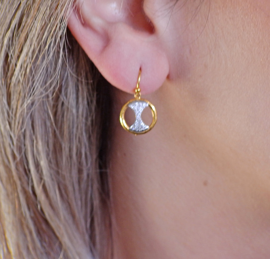 thumbnail image of Gurhan Tuxedo Gold Diamond Drop Earrings