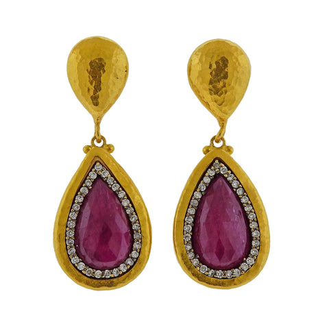 image of Gurhan One of a Kind Gold Diamond Ruby Drop Earrings